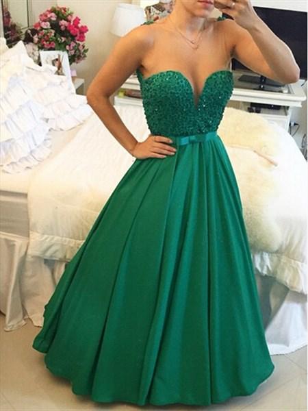 Emerald Green Strapless Sweetheart Embellished Long Formal Dress