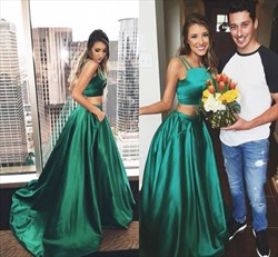 Emerald Green Spaghetti Strap Two Piece Long Formal Dress
