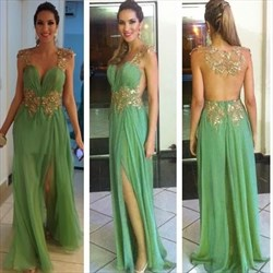 Mint Green Backless Floor Length Embellished Formal Dress With Slits