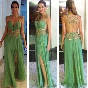 Mint Green Backless Floor Length Embellished Formal Dress With Slits