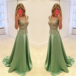 Mint Green Sheer Lace Applique Top A Line Long Formal Dress