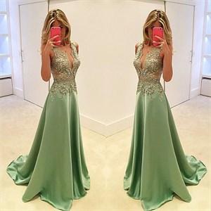 Mint Green Sheer Lace Applique Top A Line Long Formal Dress