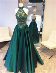 Emerald Green High Neck Open Back Lace Bodice Ball Gown Prom Dress