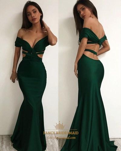 Emerald Green Off The Shoulder Backless Long Mermaid Formal Dress