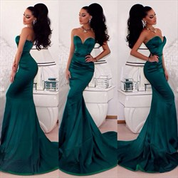 Teal Strapless Floor Length Mermaid Prom Dress With Train