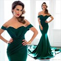 Teal Off The Shoulder Ruched Mermaid Prom Dress With Train