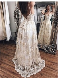 White Spaghetti Strap Lace A Line Backless Floor Length Formal Dress