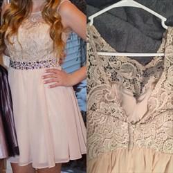 Blush Pink Lace Top Beaded Waist Chiffon Short Bridesmaid Dress