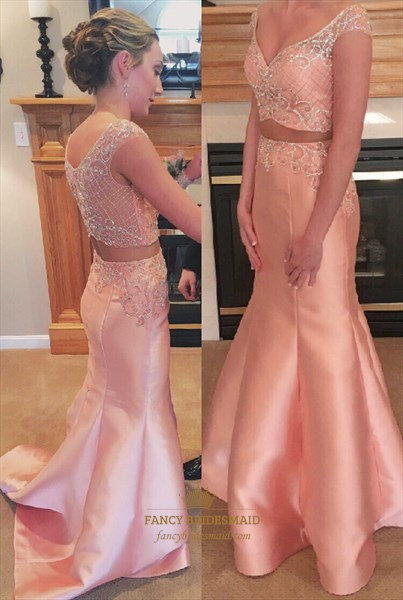 Light Pink V Neck Two Piece Mermaid Embellished Long Prom Dress