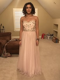 Light Pink Strapless Sweetheart Beaded Long Bridesmaid Dress
