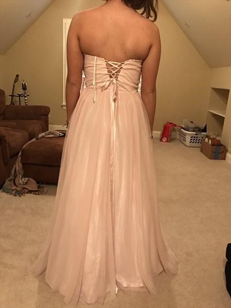 Light Pink Strapless Sweetheart Beaded Long Bridesmaid Dress