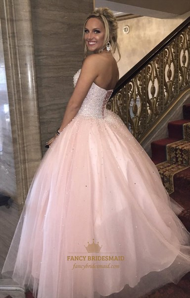 Light Pink Strapless Sweetheart Beaded Tulle Ball Gown Prom Dress