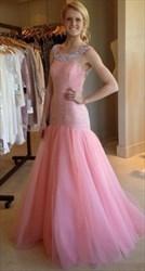 Pink Beaded Bodice Open Back Floor Length Formal Dress
