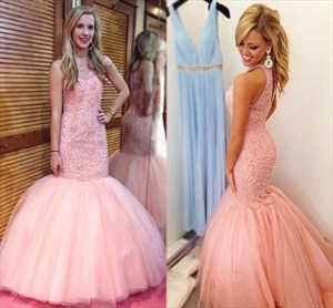 Pink Embellished Bodice Mermaid Floor Length Tulle Formal Dresses