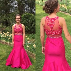 Hot Pink Sheer Illusion Lace Embellished Mermaid Formal Dress