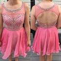 Pink Illusion Sheer Beaded Backless Short Homecoming Dress