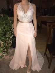 Blush Pink V Neck Lace Applique Open Back Prom Dress With Slits