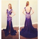 Purple Open Back Cap Sleeve Prom Dress With Lace Applique And Slits
