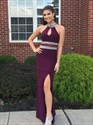 Grape Beaded High Neck Chiffon Long Prom Dress With Keyhole Front