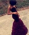 Grape Strapless Sweetheart Sleeveless Mermaid Prom Dress