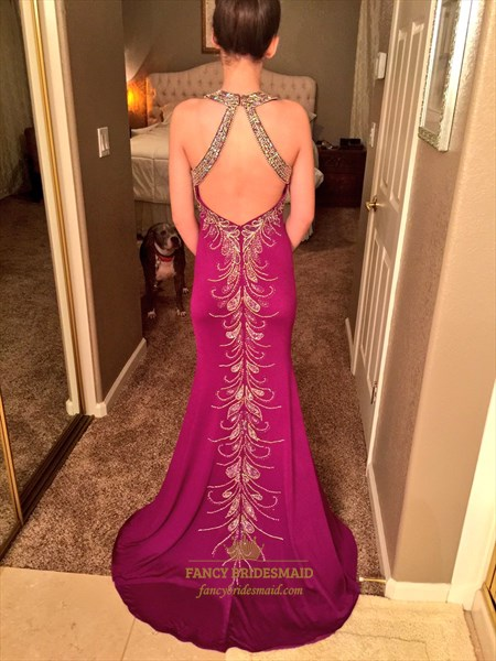 Violet Beaded Open Back Floor Length Prom Dress With Keyhole Front