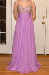 Lilac A Line Floor Length Prom Dress With Beaded Top And Straps