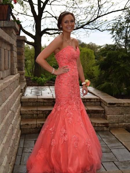 Orange V Neck Embellished Top Open Back Chiffon Long Prom Dress