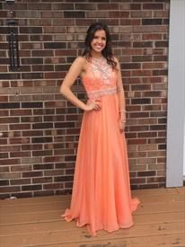 Orange Halter Beaded open back Chiffon Long Prom Dress