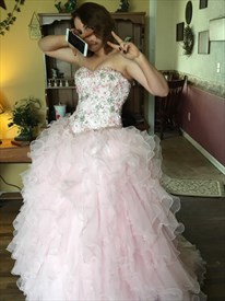 Blush Pink Strapless Beaded Bodice Ball Gown Prom Dress