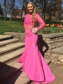Hot Pink Two Piece Lace Bodice Long Sleeve Mermaid Formal Dress
