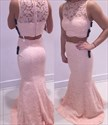 Blush Pink Two Piece Sheer Lace Mermaid Long Formal Dress