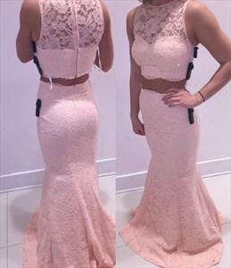 Blush Pink Two Piece Sheer Lace Mermaid Long Formal Dress