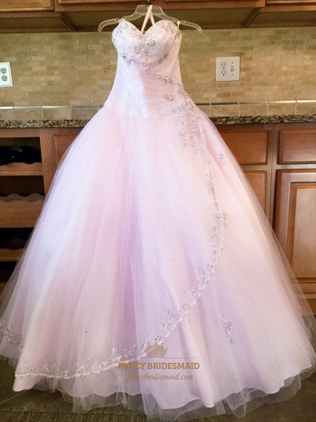 Blush Pink Strapless Beaded Embellished Long Tulle Ball Gown