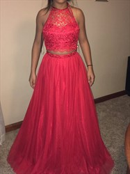 Red Two Piece Halter Illusion Lace Top Ball Gown Long Prom Dress