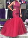 Red High Neck Beaded Backless Floor Length Mermaid Formal Dress