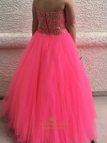 Hot Pink Strapless Sweetheart Beaded Floor Length Tulle Ball Gown