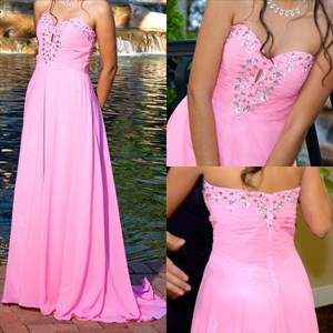 Pink Strapless Beaded Floor Length Bridesmaid Dress With Keyhole