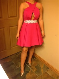 Hot Pink Beaded Backless Short Party Dress With Keyhole Front