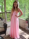 Pink Strapless Sweetheart Beaded Bodice Long Bridesmaid Dress
