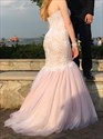 Blush Pink Strapless Sweetheart Beaded Lace Bodice Mermaid Prom Dress
