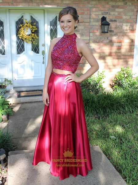 Red High Neck Two Piece Beaded Open Back Long Prom Dress
