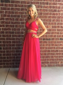 Red Beaded Two Piece Backless Long Chiffon A Line Prom Dress