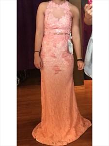 Peach Sheer Illusion Lace Two Piece Floor Length Sheath Formal Dress