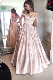 Pink Off The Shoulder Long Ball Gown Evening Dress With Pockets