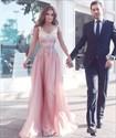 Pink V Neck Floral Applique Sleeveless Long Evening Dress