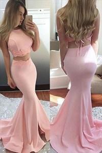 Pink Two Piece Open Back Sleeveless Long Mermaid Prom Dress