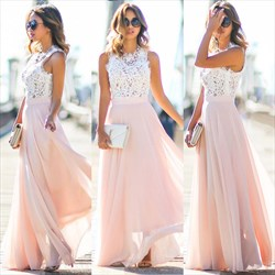 Pink Lace Bodice Chiffon A Line Floor Length Bridesmaid Dress