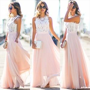 Pink Lace Bodice Chiffon A Line Floor Length Bridesmaid Dress