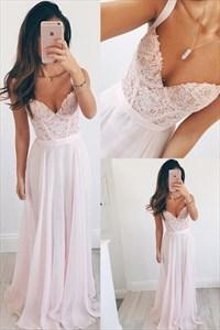 Blush Pink Lace Bodice Chiffon Long Bridesmaid Dress With Straps
