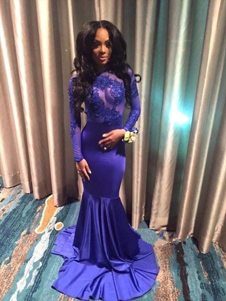 Royal Blue Illusion Bodice Backless Long Sleeve Mermaid Evening Dress
